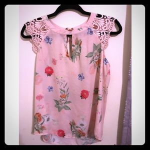 Floral and lace summer blouse